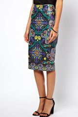 Asos Pencil Skirt in Printed Pu - Lyst