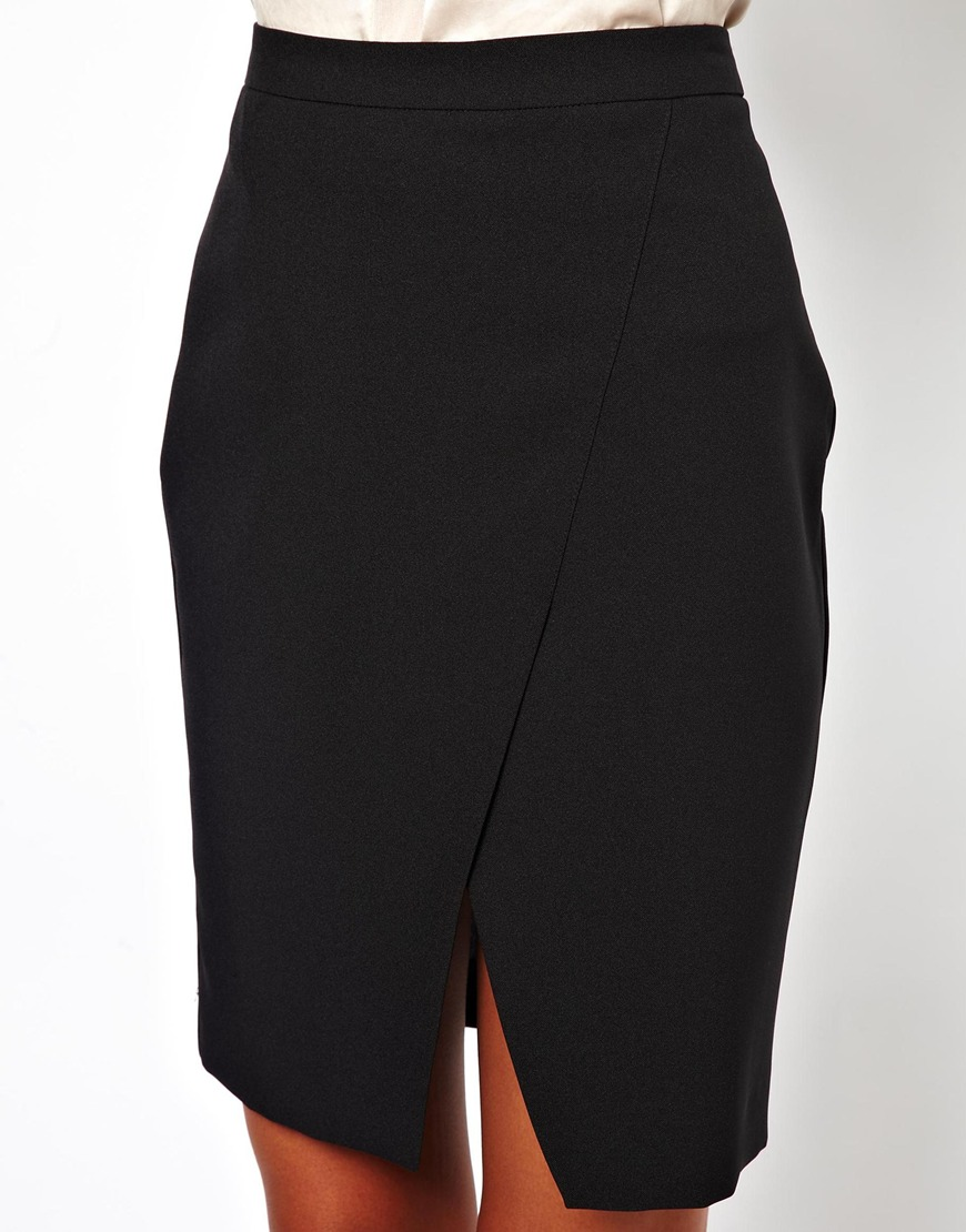 Asos Pencil Skirt With Wrap in Black | Lyst