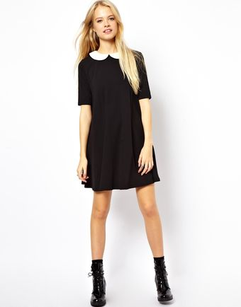 Asos Swing Dress with Contrast Collar - Lyst