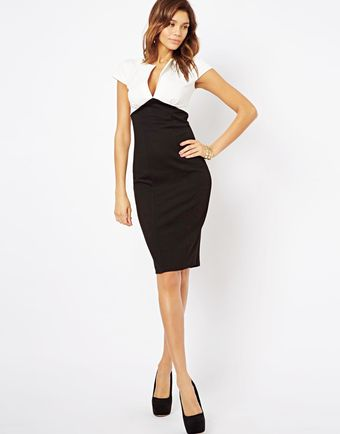 Asos Sexy Pencil Dress in Colour Block - Lyst
