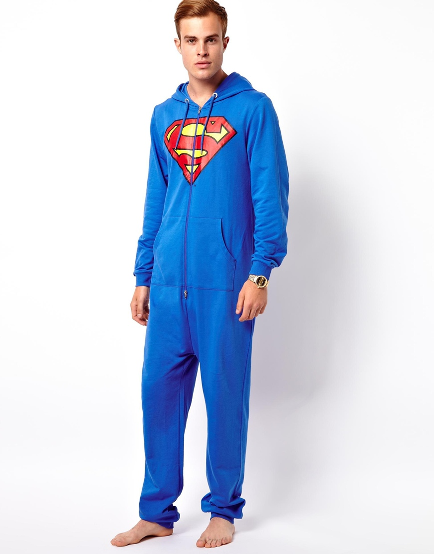 Asos onesie with superman print in blue for men lyst for Mens dress shirt onesie