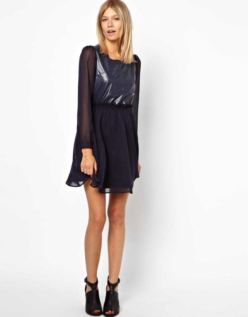 Lyst - ASOS Asos Petite Exclusive Skater Dress with Faux Leather ... 99a5bff10