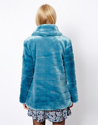 Asos Faux Fur Pelted Coat - Lyst