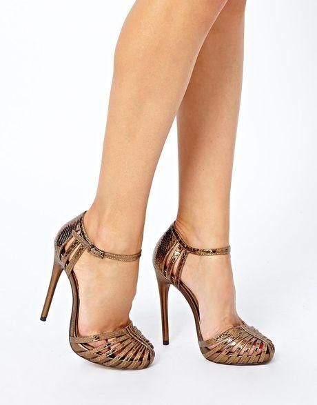 Asos Handwritten Heeled Sandals In Gold Bronze Lyst