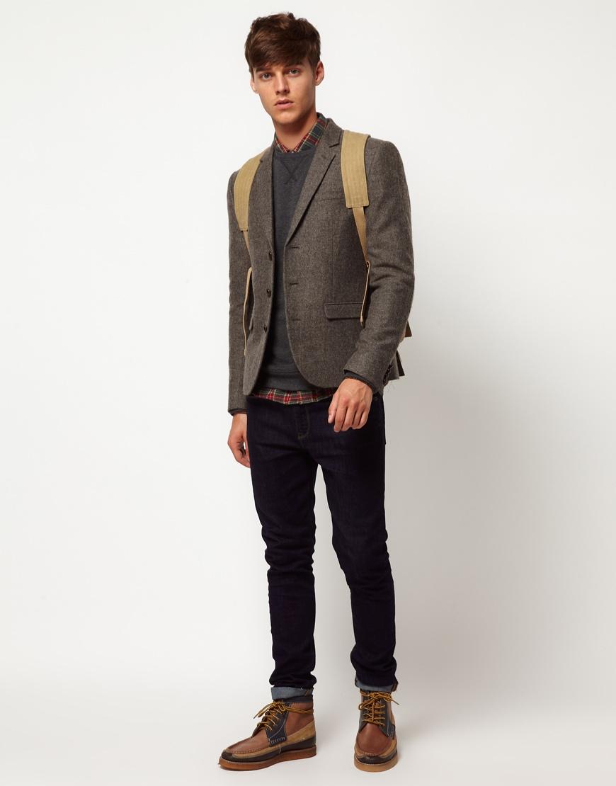 asos slim fit tweed blazer in brown for men lyst. Black Bedroom Furniture Sets. Home Design Ideas