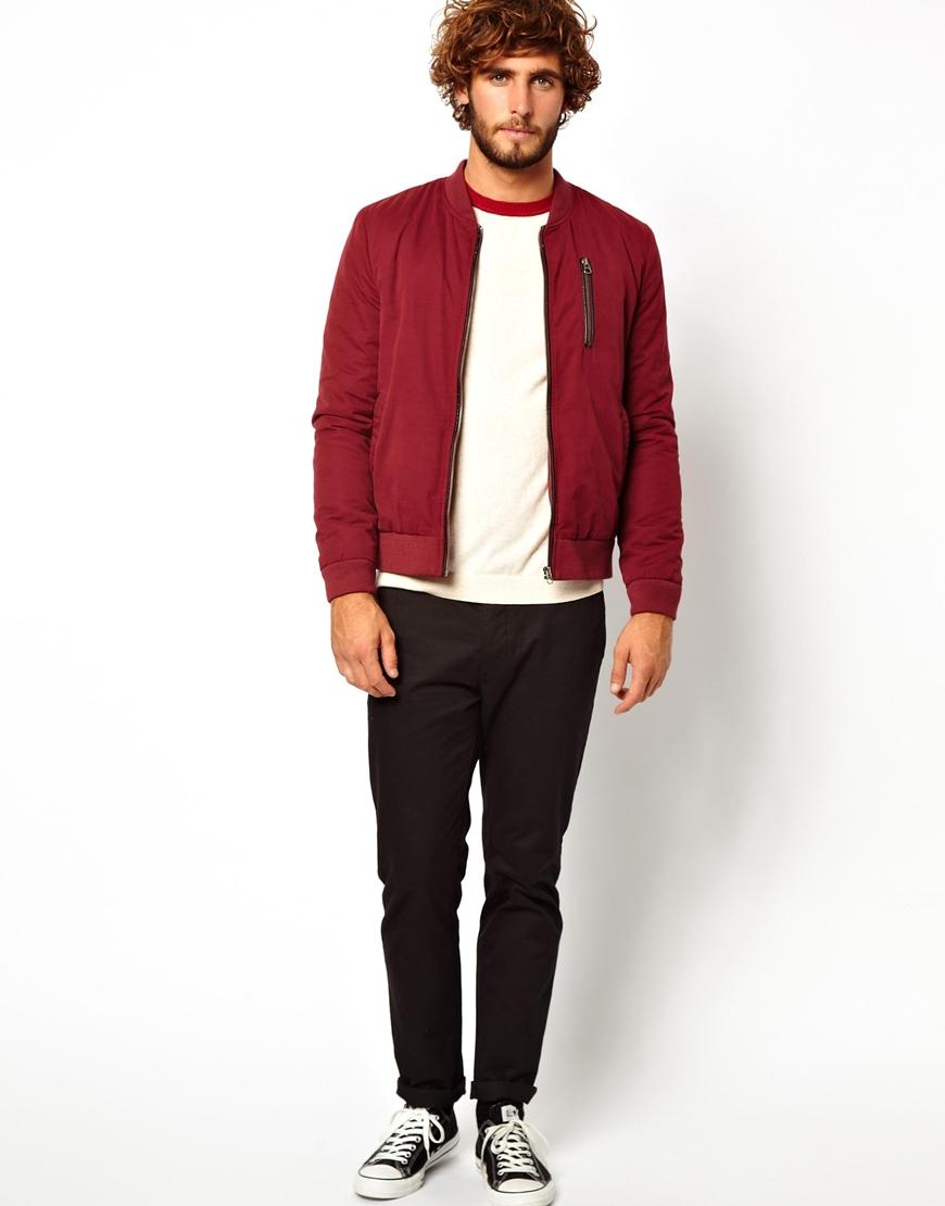 Asos Bomber Jacket in Red for Men | Lyst
