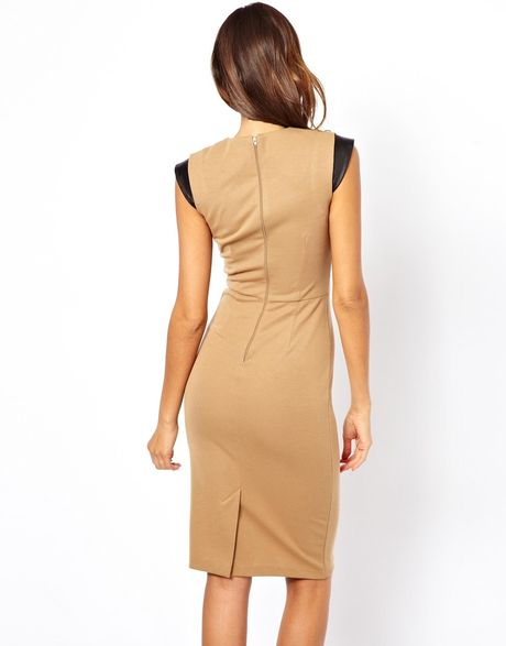 Brown Pencil Dress Pencil Dress With Leather