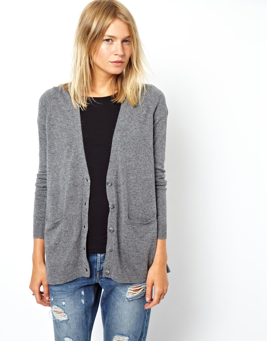 Asos Cardigan with Lace Insert in Gray | Lyst