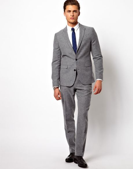 Asos Slim Fit Suit Trousers In Geo Design in Gray for Men ...