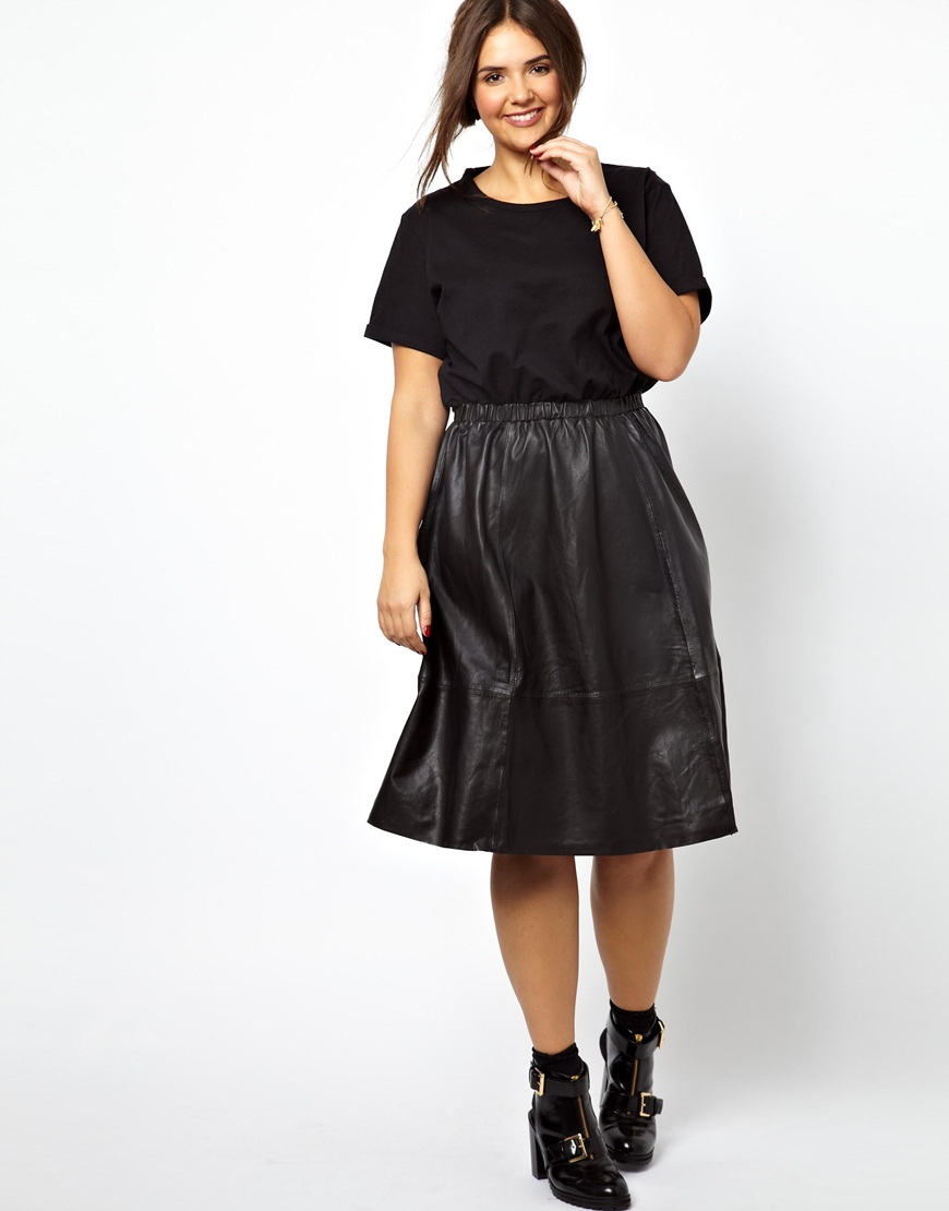 Asos Midi Dress With Leather Skirt And Jersey Top in Black | Lyst