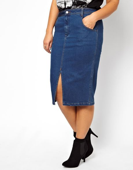 asos curve denim skirt with split front in blue indigo