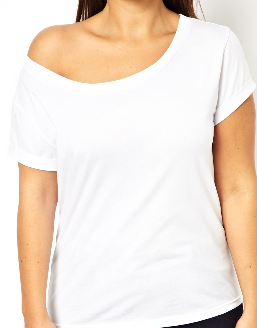 Lyst - ASOS Exclusive Off Shoulder T-shirt in White