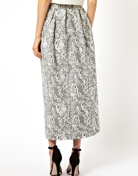 asos maxi skirt in lace in gray grey lyst