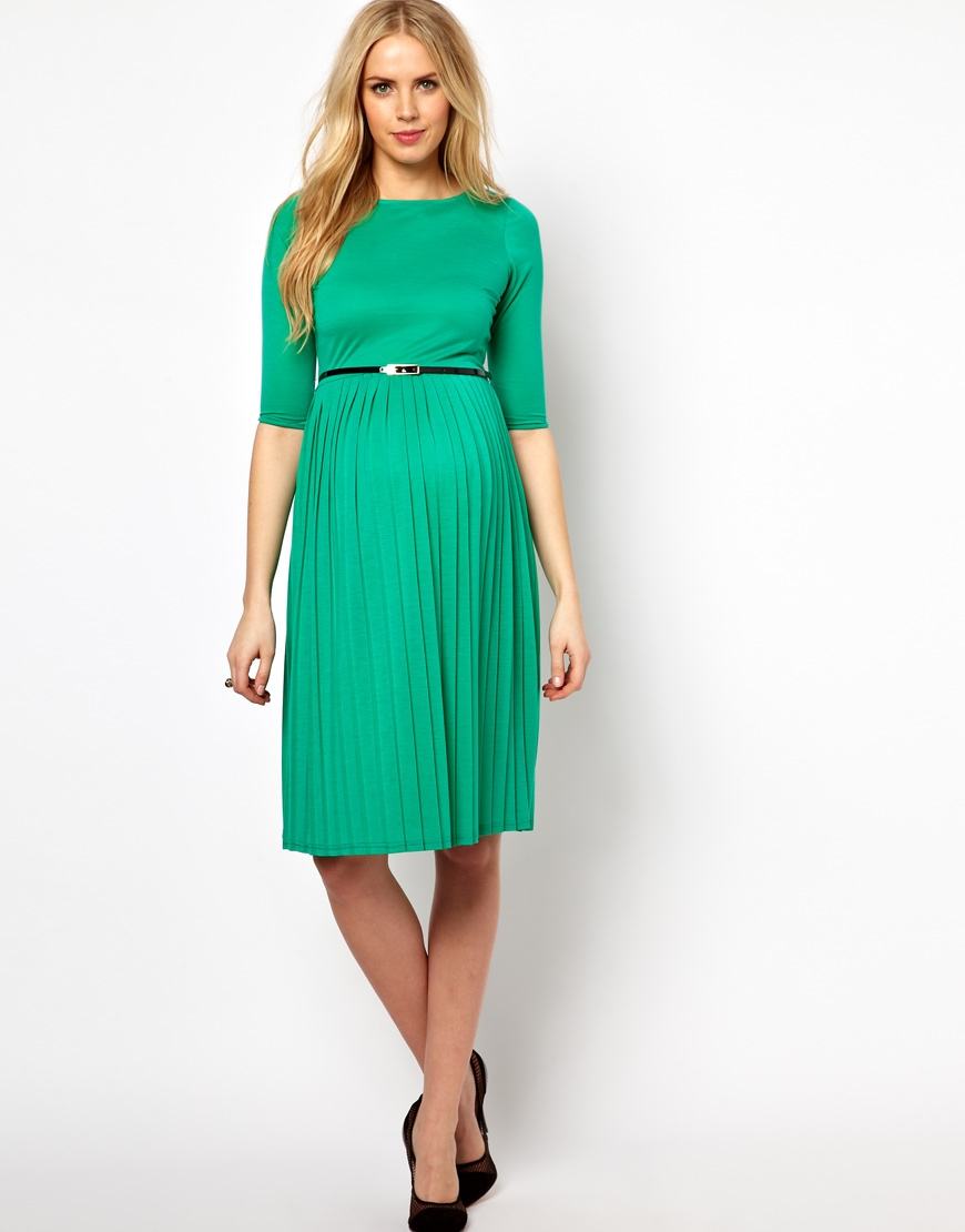 Lyst Asos Midi Dress With Pleated Skirt In Green