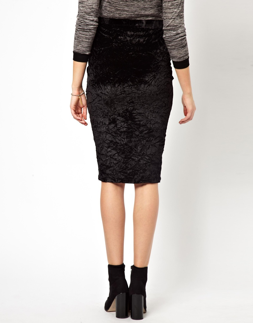 asos pencil skirt in crushed velvet in black lyst