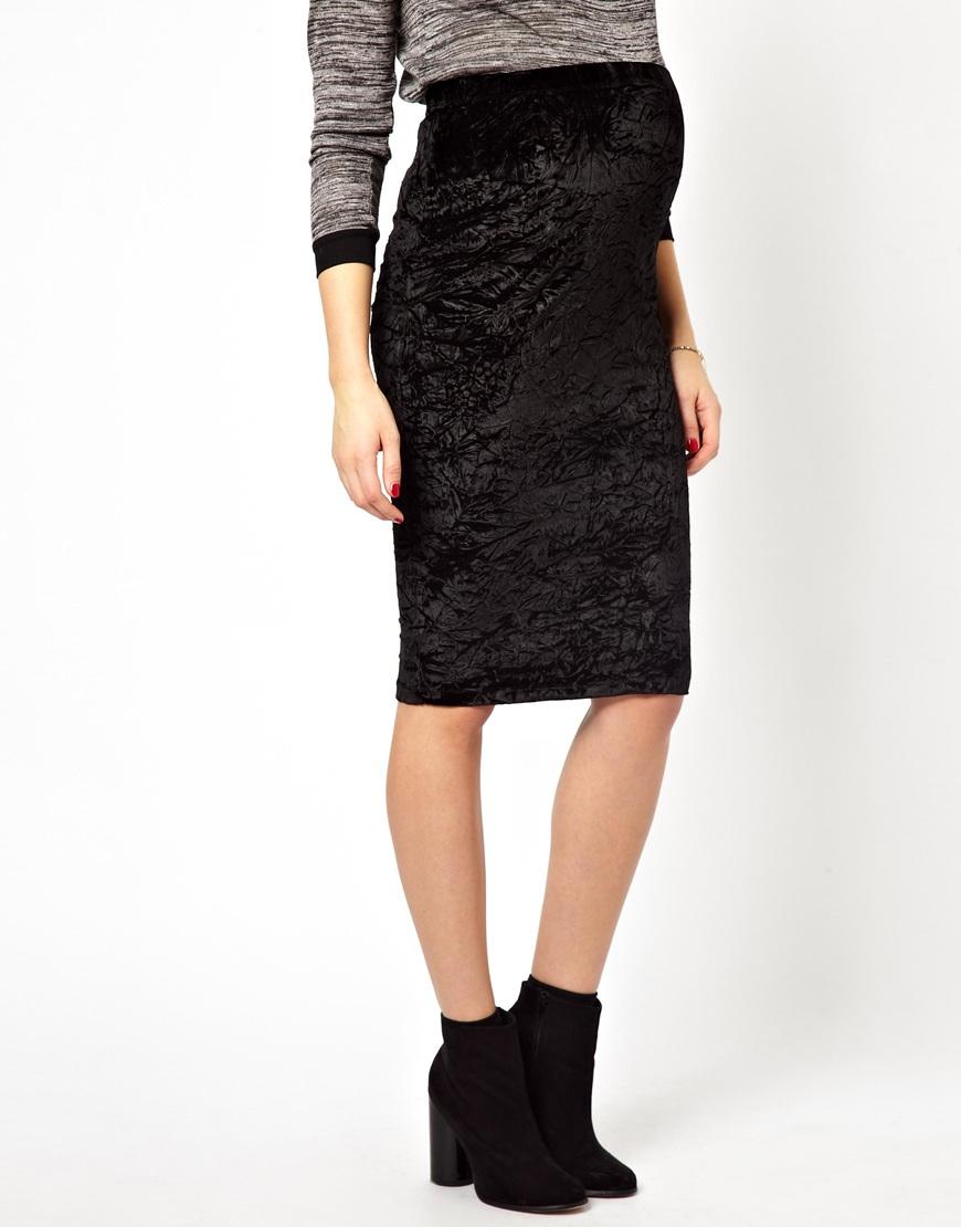 9970bddbdf ASOS Pencil Skirt in Crushed Velvet in Black - Lyst