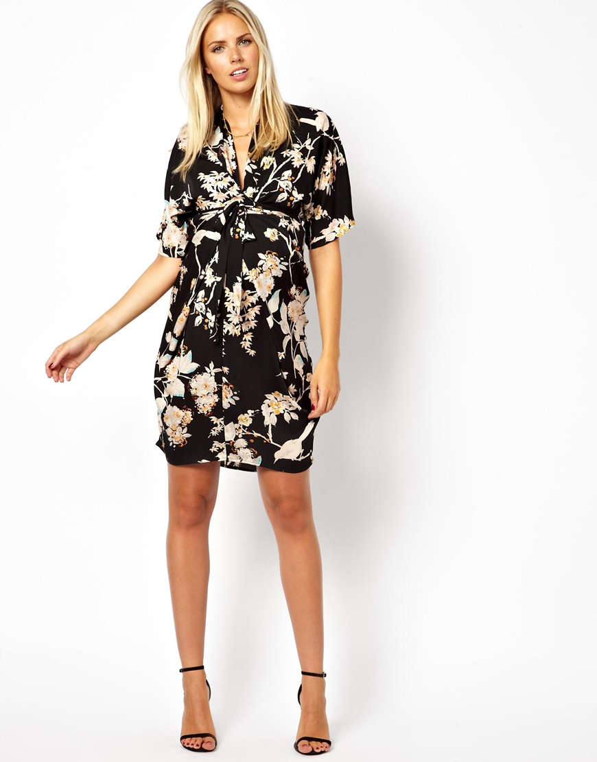 412c633508 ASOS Asos Maternity Kimono Dress in Oriental Bird Print in Black - Lyst