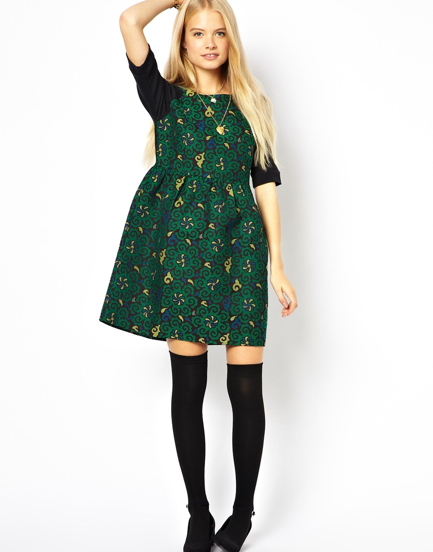 Asos Premium Smock Dress In Jacquard. in Green