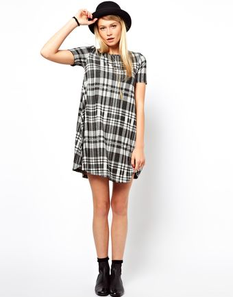 Asos Swing Dress in Jacquard Tartan - Lyst