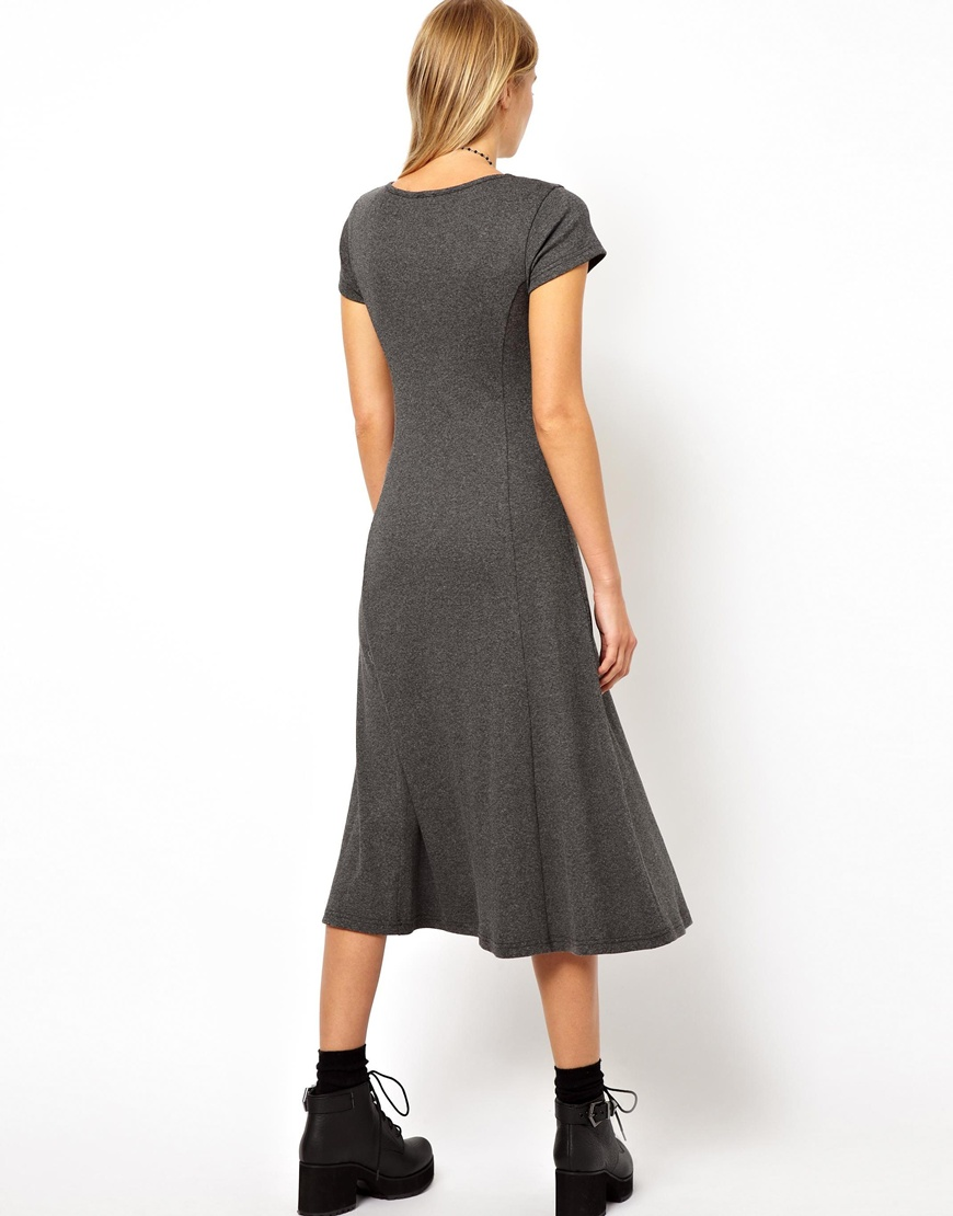 Asos Midi Skater Dress In Rib With Button Front in Gray | Lyst