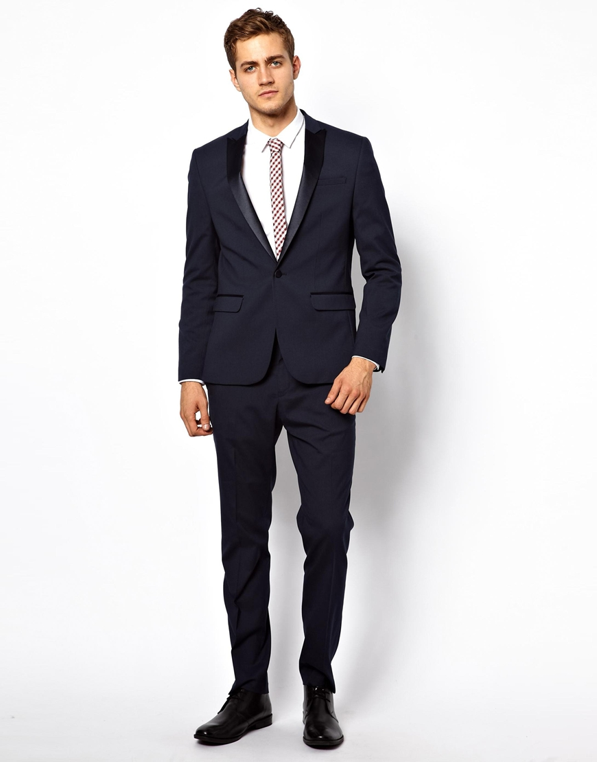Asos Slim Fit Tuxedo Suit Trousers in Black for Men | Lyst