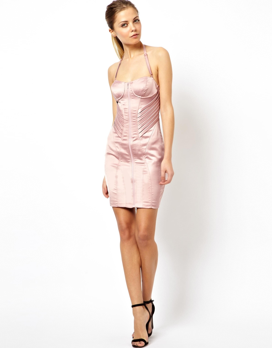 Lyst Asos Satin Bodycon Dress By Rayan Odyll In Pink