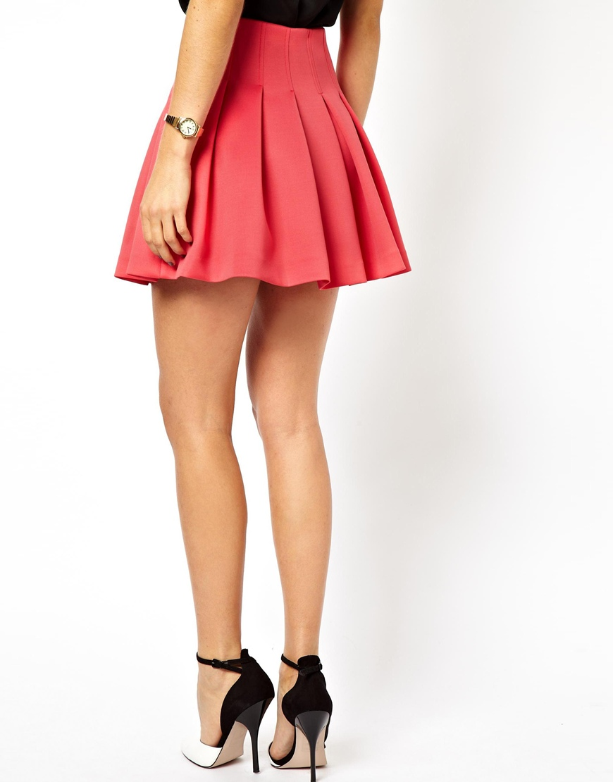 Asos Mini Skirt With Structured Pleats in Pink | Lyst