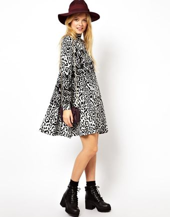 Asos Swing Polo Dress in Animal Jacquard - Lyst