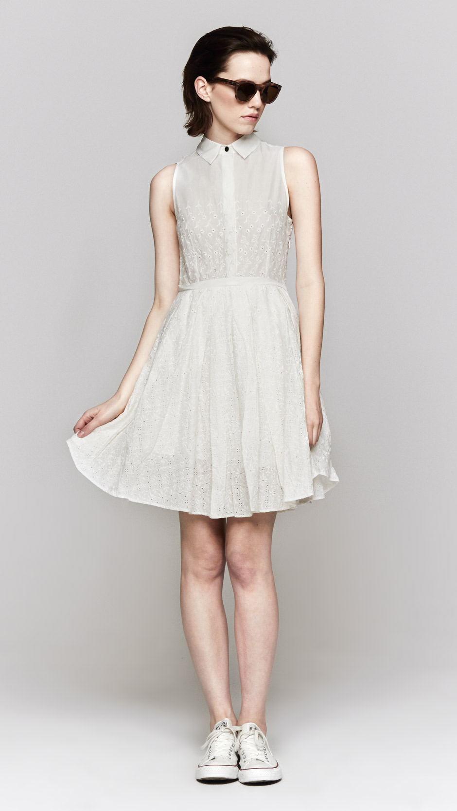 Lyst Band Of Outsiders Sleeveless Shirt Dress In White