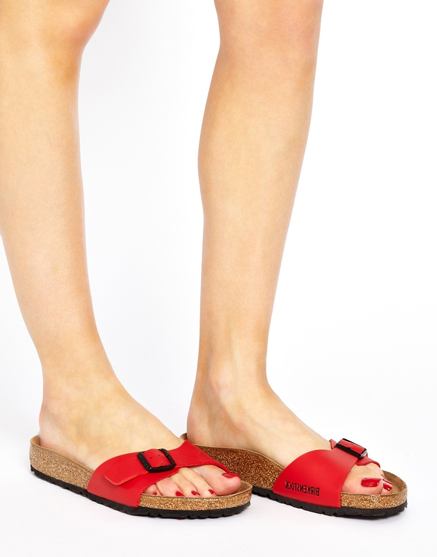 Lyst Birkenstock Cherry Red Madrid Flat Sandals In Red