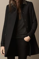 Burberry Studded Leather Collar A-line Coat - Lyst