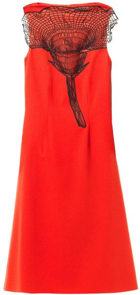 Christopher Kane Embroidered Woolcrepe Dress - Lyst