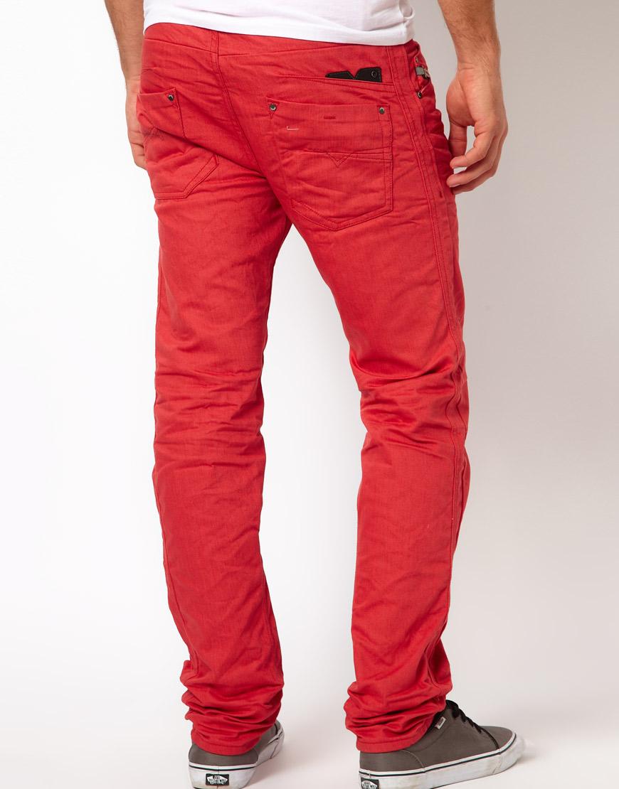 81a877f6 DIESEL Jeans Darron 8qu Regular Slim Overdye in Red for Men - Lyst