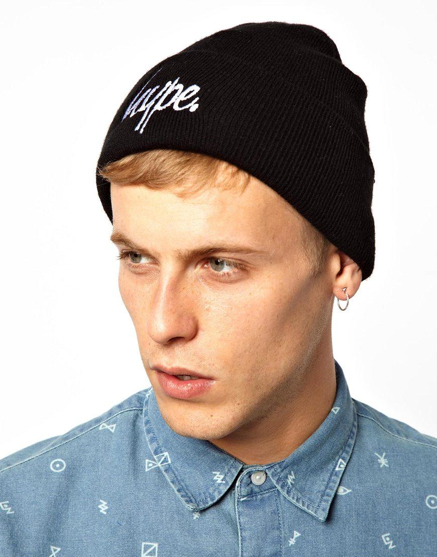 Lyst - Hype Script Beanie Hat in Black for Men 75112a6258a