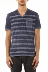 John Varvatos Stripe V-neck T-shirt - Lyst