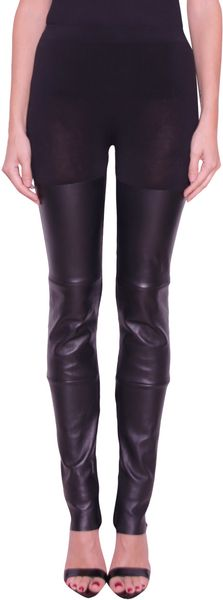 Laneus Cotton and Leather Leggings - Lyst
