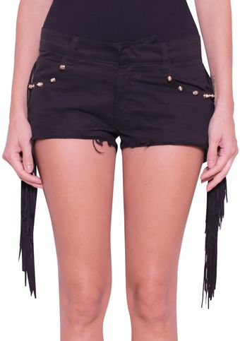 Laneus Cotton Shorts with Leather Fringes - Lyst