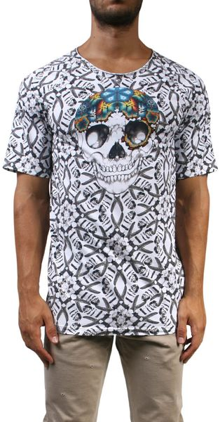 Laneus Cotton T-shirt with Embroidered Skull - Lyst