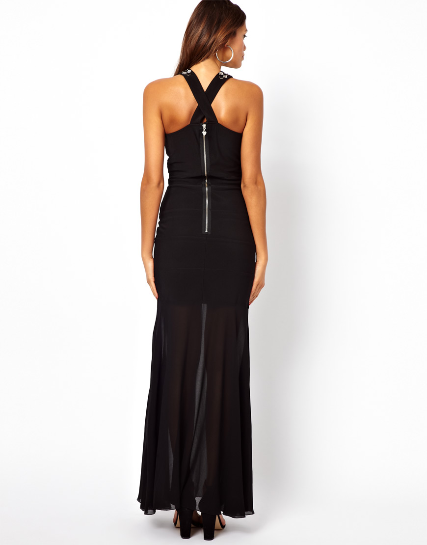 60cad8bd31b Lyst - Lipsy Maxi Dress with Embellished Straps in Black