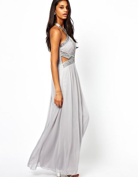 little mistress embellished maxi dress with twist neck in gray grey lyst. Black Bedroom Furniture Sets. Home Design Ideas