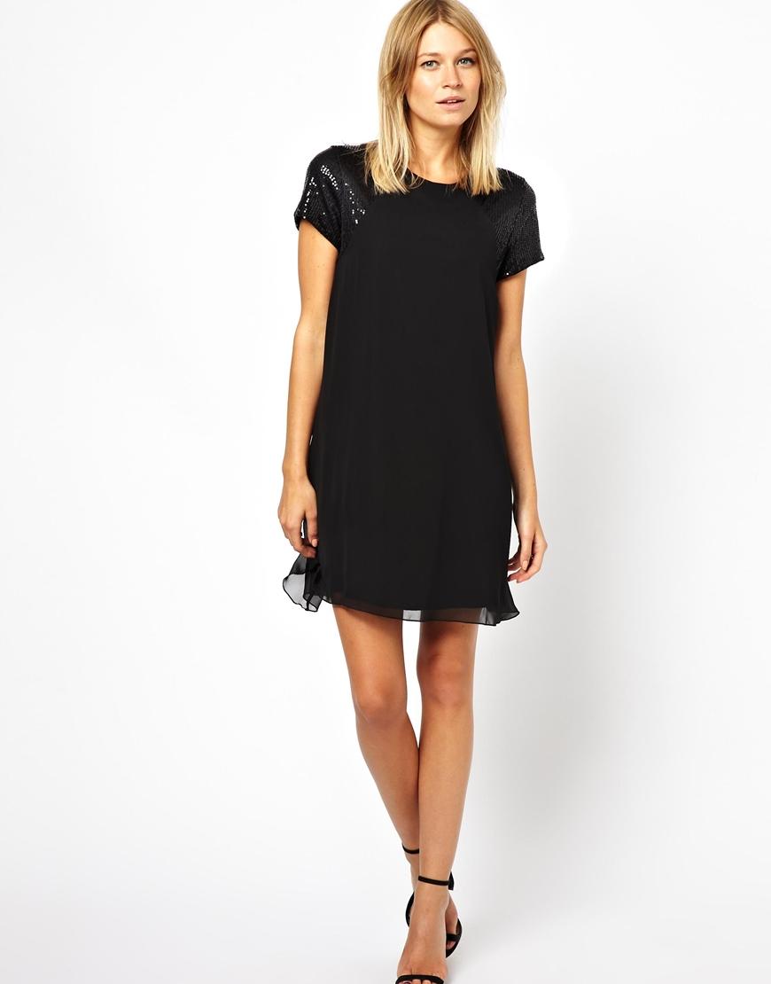 da4c758f Love Swing Dress With Sequin Sleeve in Black - Lyst