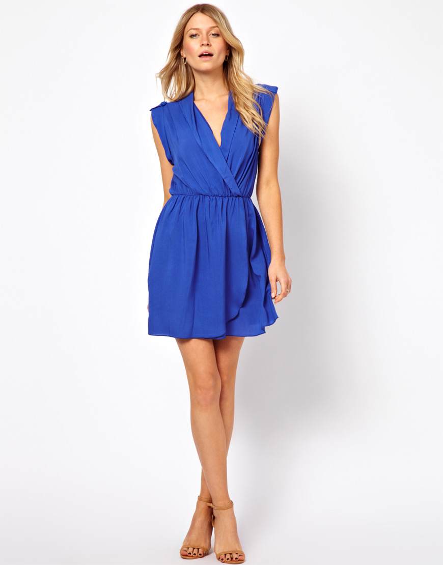 Love Dress With Wrap Front In Blue Cobaltblue Lyst