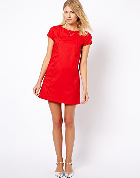 Mango Shift Dress in Red