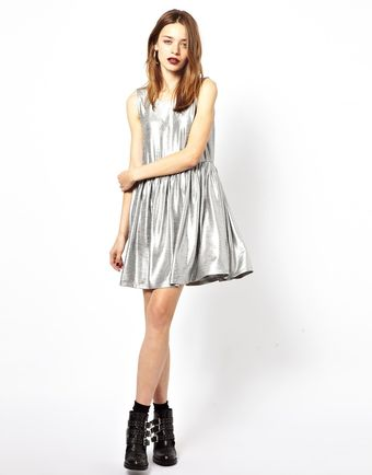 Mink Pink Blame It On The Boogie Metallic Smock Dress - Lyst