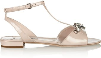 Miu Miu Crystalembellished Patentleather Sandals - Lyst