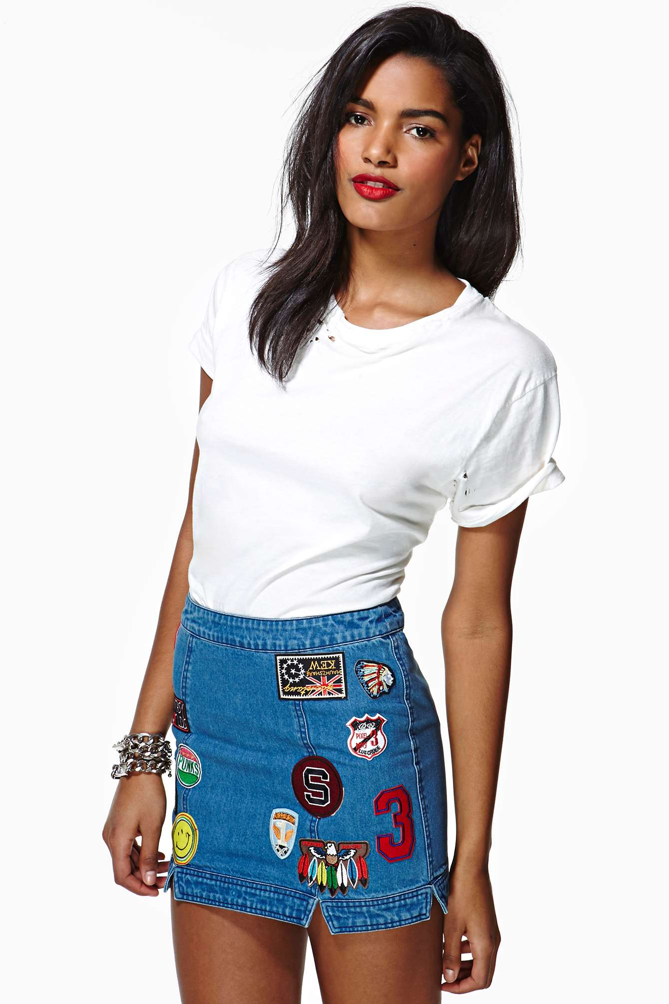 Nasty gal Patches Denim Skirt in Blue   Lyst