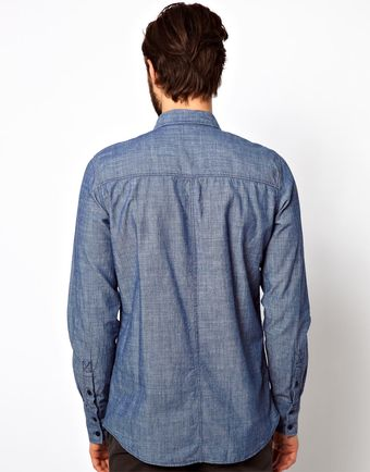Nudie Jeans Nudie Shirt Gunnar Chambray Denim - Lyst