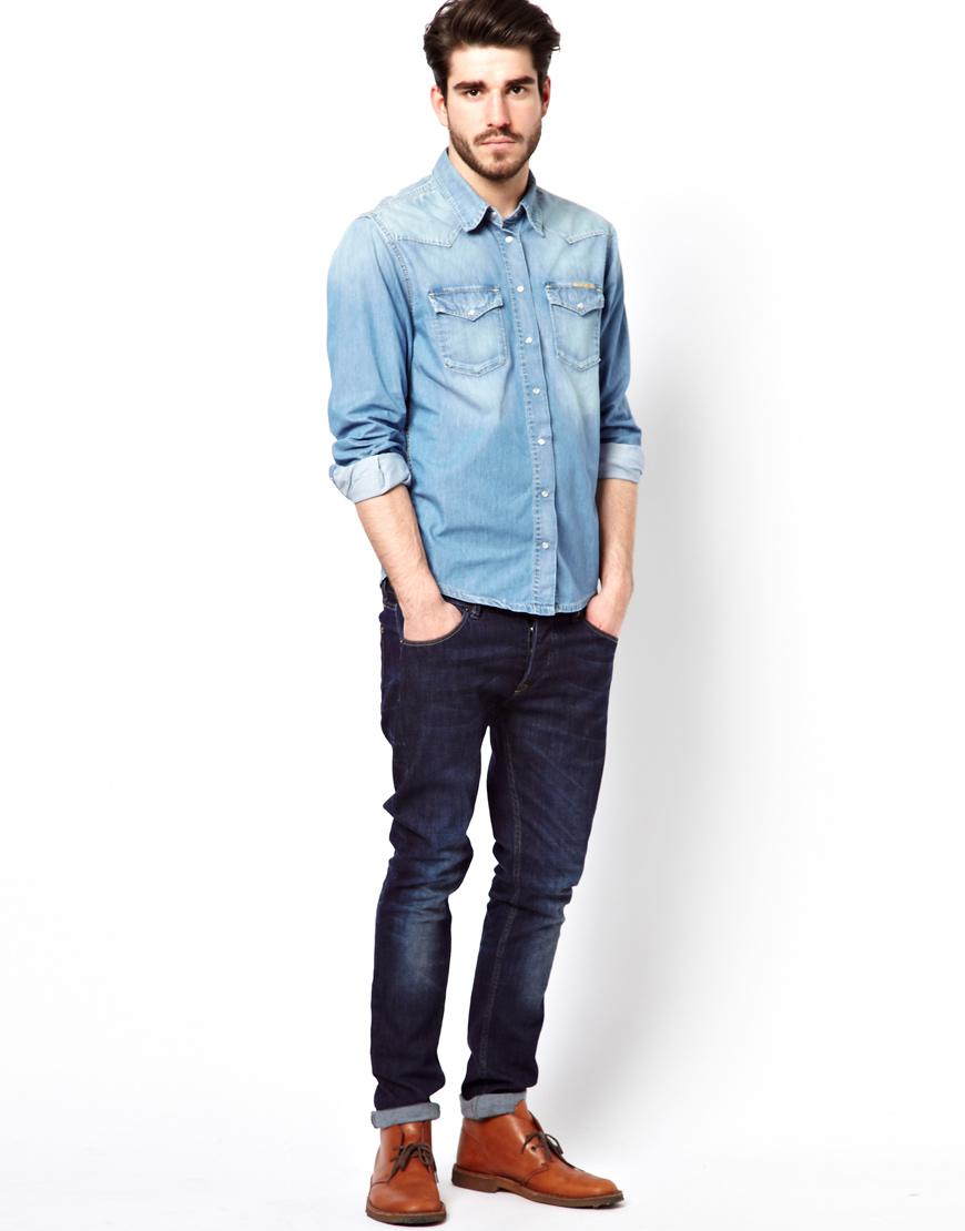 lyst pepe jeans denim shirt snow bleach western in blue. Black Bedroom Furniture Sets. Home Design Ideas