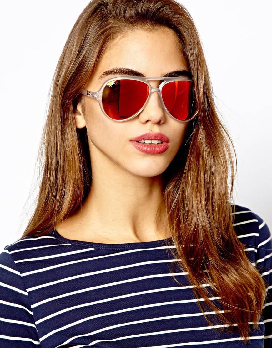 e84c628fa1 ... low cost lyst ray ban plastic mirrored aviator sunglasses in orange  5551a 92594