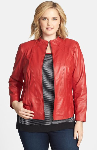 Sejour Lambskin Leather Jacket in Red (Red Tango) - Lyst